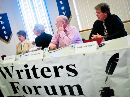 Pictured: Writers Forum Program Chair Sharon Owen, author Linda Boyden, author Jim Dowling and author Robb Lightfoot